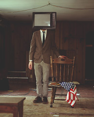 1970s Hotel Room (Kyle.Thompson) Tags: boy brown house man guy abandoned tv chair flag suit american 1970s