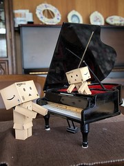 Mini, don't play in the piano! (uchiko*) Tags: toy figure danbo danboard