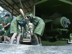 "British officers loading a 6"" Gun (oldandsolo) Tags: singapore artillery sentosaisland fortsiloso britishsoldiers guntower bluezone 6gun batterycommandpost"