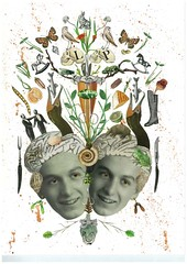"""""""The Beautiful Mind of Leo & Pipo"""", by Katie McCann (Leo & Pipo) Tags: street portrait paris france art collage illustration analog vintage paper french design mixed artwork media graphic leo handmade cut paste katie surreal retro dada pipo papier imaginary mccann colle imaginaire leopipo"""