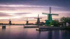 Silky (miguel_lorente) Tags: longexposure sunset sky green water windmill amsterdam clouds river landscape dock zaanseschans silky zaan