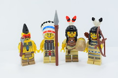 Lego indian collectible minifigures (Alex THELEGOFAN) Tags: woman lego chief tribal warrior hunter serie tomahawk