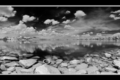 Upper Pierce Reservoir (JamCanSing) Tags: blackandwhite panorama reflection clouds panoramic reservoir infrared nearinfrared upperpierce upperpiercereservoir sonysg sonyalphaprofessionals