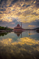 Dramatic Sunrise at Putra Mosque, Putrajaya (BooJunk) Tags: park travel blue sunset wallpaper sky orange cloud sun lake holiday building architecture sunrise asian outside religious outdoors evening design scenery asia exterior view place image background minaret muslim islam faith religion pray culture landmark mosque structure historic holy malaysia recreation kuala putrajaya middle ramadan eastern masjid lumpur islamic putra