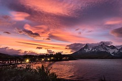 Clouds on the Patagonia's sunset (M4U) Tags: chile bridge blue sunset red patagonia sur torresdelpaine quite cl pehoe magallanes hosteria m4u mauricioescalona canon5dmarkiii