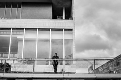 The Boss (EyeOfTheLika) Tags: street uk shadow bw white man black london silhouette buildings photography high south small perspective large streetphotography bank lika lonely 500px ifttt