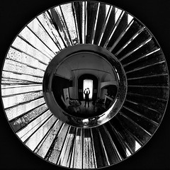 Peer out at shadows (Lumase) Tags: bw selfportrait reflection circle square room caravan tangent peart supershot acircleinasquare