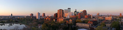 Loring Park Dusk Panorama (MSPdude) Tags: park panorama lake tower minnesota skyline skyscraper canon apartments dusk basilica minneapolis condos stmary ids loringpark capella perfectpanorama t2i