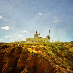 Portugese Lighthouse Monday Blues (s0ulsurfing) Tags: blue light sky cloud sunlight lighthouse holiday color colour texture tourism portugal weather rock clouds contrast square coast rocks heaven skies wind wide steps fluffy wideangle tourist lagos stairway coastal cumulus april coastline algarve humilis 2009 squared nube cliche bold foreground meteorology nephology 10mm flypaper sigma1020 s0ulsurfing pontadapiedade westernalgarve cumulushumilis vertorama