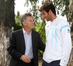 Mauricio Macri con Juan Martín Del Potro previo al choque de Copa Davis con Croacia