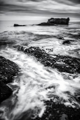 Impasse (Nate Parker Photography) Tags: ocean blackandwhite seascape abstract seaweed monochrome coast maine shoreline shore inlet lowtide barharbormaine icm barharbor acadianationalpark haveaniceday landscapeabstract coastofmaine intentionalcameramovement lamndscape winamilliondollars seascapeabstract