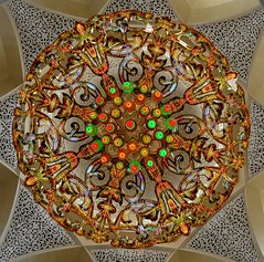 Round chandelier bottom view of Sheikh Zayed Grand Mosque(SZGMC) (mamasain) Tags: travel flowers panorama woman cloud white monument floral skyline architecture night clouds religious outdoors lights persian women worship call exterior gulf dress artistic god space minaret muslim islam traditional prayer uae columns decoration picture hijab landmark mosque best architectural east national zayed arab dome arabia destination sight marble muslims middle domes majestic abaya unitedarabemirates gcc islamic  lucena  moslem  united arenzano moslems    emirates mosque szmc  sheikhzayedmosquecenter shaikzayedgrandmosque