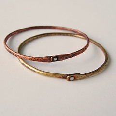 thin hammered bangles