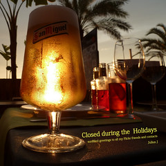 Closed during the Holidays (jjamv) Tags: friends sunset amigos beer glass bar restaurant bottle spain flickr drink cerveza explore corona alcohol condensation bier cerveja sanmiguel birra tarragona reus lager modernisme salou cooldrink disset ringexcellence jjamv julesvtravel