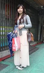 Hsueh Ching Yi 1 (TaipeiStyle) Tags: street girl fashion singapore taiwan style converse taipei pinkskirt nationaltaiwanuniversity blueumbrella brownleatherbag longsleevedgrayshirt