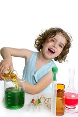 Beautiful chemistry little girl playing in lab (gofreeride) Tags: blue school people test white playing game cute glass girl beautiful smile female fun happy glasses kid student healthy spain education toddler lab pretty child play little background small tube young experiment science medical study research doctor american chemistry laboratory medicine biology chemicals liquid virus scientist chemical pretend chemist caucasian scientific
