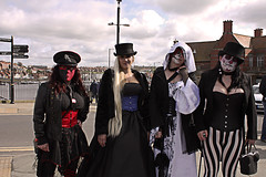 Whitby Goth Weekend 24 (Beachcomber ( By The Bay )) Tags: people beach monochrome festival female photoshop canon photography mono coast seaside interesting north goth 19thcentury perspective victorian steam coastal corset coastline popular northeast seashore period edwardian fascinating powered steampunk northeastcoast bythesea calmsea seasides whitbygothweekend coastallife 450d canoneos450d photoshopelements80 beachcomberbythebay