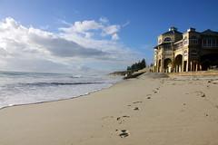 Footprints on the beach, Cottesloe, Perth (travelbug365) Tags: travel sea house beach clouds canon sand famous footprints australia perth wa westernaustralia travelbug365