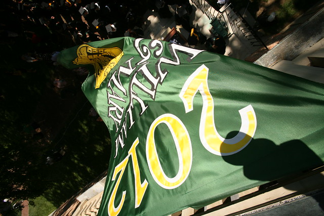 2012 banner waves over the Wren Yard