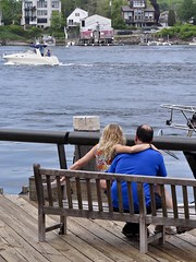 Love and Fast Boats (AntyDiluvian) Tags: river bench boat dock waterfront newhampshire fast nh lovers portsmouth riverfront speedy runabout middleage piscataqua sittinginhislap