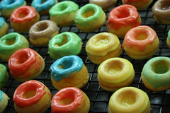 The Baking Sheet (Risushi) Tags: red food green yellow dessert baking delicious donuts doughnut icing