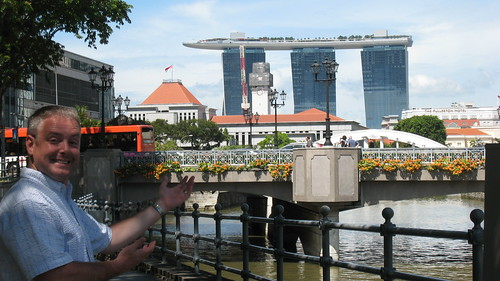 Marina Bay Sands in the distance - a post brunch stroll along the river in Singapore