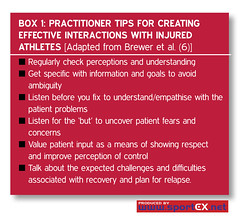 Practitioner tips for creating effective interactions with injured athletes [Adapted from Brewer et al. (6)] (sportEX journals) Tags: recovery rehabilitation sportsmedicine sportex sportsinjury sportspsychology sportexmedicine