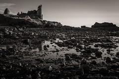 Alone on the beach (jasonmgabriel) Tags: sea bw building castle beach water monochrome rock landscape scenery ruin pebbles donan
