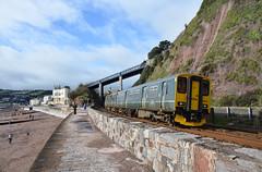 150232 (Teignstu) Tags: green railway seawall devon firstgreatwestern teignmouth gwr dmu class150 150232