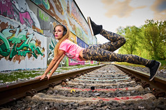 Thats what i call a power woman (CHCaptures) Tags: pink woman graffiti model railroads ourdoor sonyilce7 sel2470z laclaramaria
