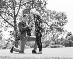 "She said ""Yes"" (Oliver Leveritt) Tags: blackandwhite woman man monochrome engagement proposal oliverleverittphotography afsnikkor70200mmf28gedvrii nikond610"