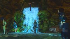 228 (Beth Amphetamines) Tags: blue wallpaper cute waterfall outfit screenshot kat dragon time beth champion clothes sd armor cave brunette shelley simple cavern leaping traveler mora omake follower shadowwalker serana khajiit meinthegame oghma skyrim mrissi mycustomfollower