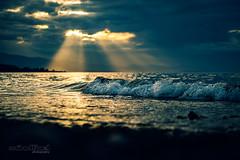 Qualicum Beach God Rays (Mindfuel Photography) Tags: ocean sunset sea sky cloud sun beach water mood outdoor vancouverisland rays qualicum