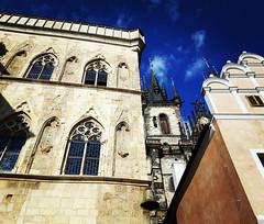 House at Stone Bell and Tyn Church on Old Town square in Prague, Czech Republic. May 7, 2016 (Aris Jansons) Tags: city church buildings europe czech prague capital gothic praha oldtownsquare staromestskenamesti 2016 česko stonebell churchofourladybeforetýn
