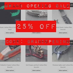Grand Opening of JenniferRayJewelry.com 25% off with coupon code: grandopening I have finally completed my own website! It has been a long time in the making and with it finally being done. I am celebrating with a site wide sale of 25% off! But it is for (JenniferRay.com) Tags: ray jennifer jewelry carbon custom fiber exclusive paracord jrj instagram