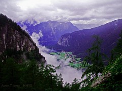 Obertraun. (Aaron T Jones) Tags: cloud mist mountain lake alps weather forest austria sterreich fuji village valley finepix s7000 traun oesterreich salzkammergut hallstatt obertraun