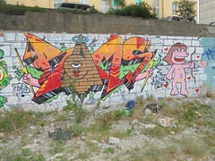 tainted love (en-ri) Tags: muro verde eye wall writing graffiti eros giallo arrow rosso occhio arancione imperia bams piramide ventimiglia 2014 fulmini saette
