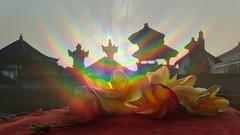 Bali angels (anjoyplanet) Tags: bali fleurs temple rainbow frangipane spirit roofs ciel angels gods anges sacré toits dieux anjoyplanet