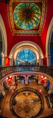 Queen Victoria Building - Vertical Panorama (danielacon15) Tags: blue red building heritage architecture spectacular colorful sydney australia indoors dome qvb splendid queenvictoriabuilding 2016 federationromanesquerevivalstyle