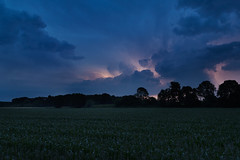 A light in the dark (jan.arnds) Tags: blue sky storm nature field weather dark landscape outside darkness bolt gras lightning blitz thunder thunderbolt janarnds