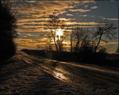 Winter sun on the road (gos1959) Tags: road sunset sun clouds jammerbugt fotocompetition fotocompetitionbronze mygearandme mygearandmepremium mygearandmebronze mygearandmesilver pregamesweepwinner pipexcellence biersted pregameduelwinner vigilantphotographersunite vpu2 vpu3 vpu4 vpu5 vpu6