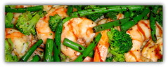 Stir Fried Shrimp with green beans and brocolli,Miami Heat Pre game