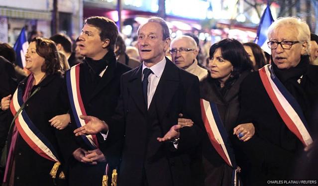 Bertrand Delanoë & Anne Hidalgo, lors de la marche silencieuse du 19 mars 2012 à Paris