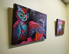 Feathered Paintings... (heathermariecarr) Tags: show dark painting mixed media acrylic gallery 2012 heathercarr shorelinecityhall heatherunderground