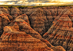 Badlands Trio (Jeff Clow) Tags: travel color nature southdakota landscape geology badlandsnationalpark
