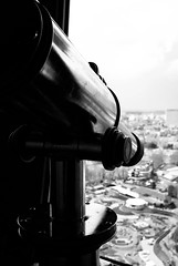 Looking Down On The World - Atomium, Brussels (Janicskovsky) Tags: brussels blackandwhite bw panorama white holiday black macro building slr metal architecture contrast french nikon iron belgium steel tubes highcontrast bruxelles panoramic architect binoculars exposition telescope sphere cube belgian dslr magnified flemish spheres atomium atom worldsfair francais flanders magnification panoramicview heizel heysel d80 expo1958 nikond80 andréwaterkeyn ironcrystal boulevardducentenaire