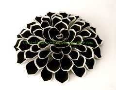 Black & White Fantasy Flower (Once Upon A Pedestal) Tags: white black cake tutorial fantasyflower frostingsheets waferpaper ediblericepaper onceuponapedestalblogspotcom wwwonceuponapedestalblogspotcom