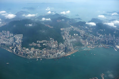 Flying over Hong Kong China (dcmaster) Tags: china city urban skyline island flying asia view harbour over chinese victoria aerial hong kong kowloon cetntral