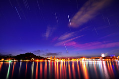 Star trails over lake  (Vincent_Ting) Tags: