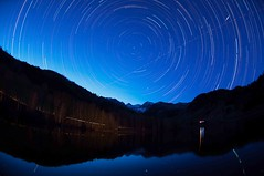 Silver Lake Flat, American Fork Canyon (Adam's Attempt (at a good photo)) Tags: trees sky water stars utah nikon fisheye startrail americanforkcanyon d90 silverlakeflat starstax